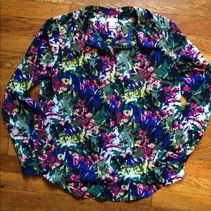 J Crew Floral half button up blouse